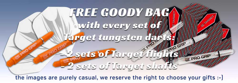 FREE GOODY BAG with every set of Target tungsten darts
